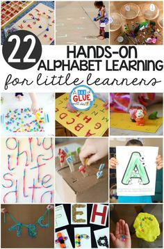 The alphabet is one of my favorite things to teach little learners! When you can make learning hands-on kids LOVE it and learning really sticks with the kids. Here's a set of some of my favorite hands-on alphabet learning for little learners! These are pe Teaching The Alphabet, Learning Letters, Kids Learning, Teaching Phonics, Kinesthetic Learning, Jolly Phonics, Kindergarten Learning, Early Learning, Preschool Literacy