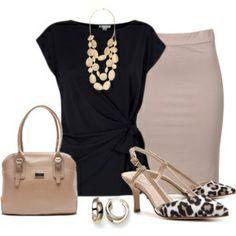 Black top, beige skirt, leopard shoes, beige bag
