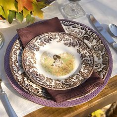 Spode's Woodland Hunting Dog pattern reminds me of my grandmother's Thanksgiving table. I love everything about it