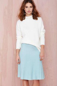 Pastel Blue Midi Skirt - $14