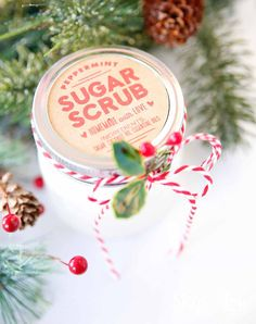 Sugar scrub recipe has only three ingredients and will leave your skin silky soft! FREE printable labels to download and print. Great gift idea!