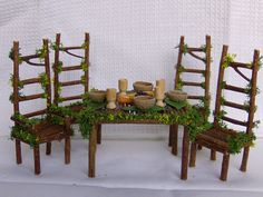 fairy dining table  *********************************************  iona.tasker via Flickr #fairy #garden #miniature #dollhouse #furniture #table #chairs
