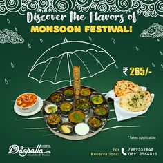This Monsoon, takes you on a soulful culinary trip with sizzling hot delicacies accompanied by a special and offer on selected drinks. Food Web Design, Food Graphic Design, Food Poster Design, Menu Design, Janmashtami Pictures, Indian Catering, Food Captions, Restaurant Promotions, Pamphlet Design