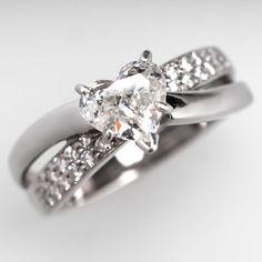 1 Carat Heart Cut Diamond Engagement Ring 14K Gold