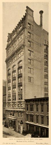 1905 Print Hotel Le Marquis New York Buchman Fox Architecture Wurts Photography – Original Halftone Print Marquis, Multi Story Building, Fox, New York, The Originals, Architecture, Photography, Arquitetura, New York City