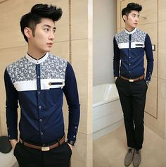 2014 Stand Collar Color Block Hot Fancy Shirt Casual Club Wear Fashion Men Shirts  $22.89
