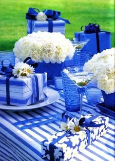Festive cobalt/white table!!! Bebe'!!! Beautiful Gift Wrap In Blue And White!!!