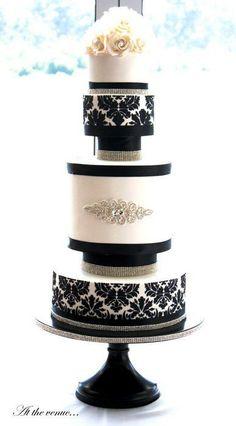 black and white damask wedding cake ~  we ❤ this! moncheribridals.com