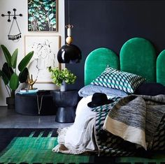 It's easy being green when you look as stunning as our Poppy bedhead in Emerald velvet! Styled by the incredibly talented Greenhouse Interiors for Inside Out Magazine. Shop the look at www.heatherlydesign.com.au/product/poppy/