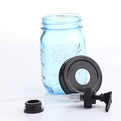 1 X Vintage Blue 100th Anniversary Ball Pint Mason Jar with Black Lid and Black Soap Pump Factory Direct Craft http://smile.amazon.com/dp/B00DDU8542/ref=cm_sw_r_pi_dp_Mhk1vb1G58BD4