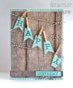 My first Avocado Arts Stamped card using the new July Bold Celebration set! :] Handmade card using clothespins, stamps, Echo Park Papers.Informations About My first Avocado Arts Stamped card using the new July Bold Celebration set. Bday Cards, Birthday Cards For Men, Handmade Birthday Cards, Card Birthday, Diy Birthday, Rustic Birthday, Birthday Bunting, Birthday Ideas, Echo Park