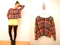 Vtg 80's Colorful Woven Cut Out Cropped Sweater  http://www.etsy.com/shop/LuluTresors