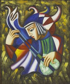 """The Jester Oil Painting Reproduction Music Art Painting, Size: 20"""" x 24"""", $83. Url: http://www.oilpaintingshops.com/the-jester-oil-painting-reproduction-music-art-painting-1845.html"""