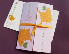 Ribbon tied invites from 3 Bees Paperie