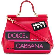 Dolce & Gabbana small Sicily shoulder bag (€1.730) ❤ liked on Polyvore featuring bags, handbags, shoulder bags, red, red purse, red leather shoulder bag, genuine leather shoulder bag, genuine leather handbags and red shoulder bag