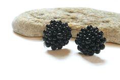 Black Glass Cluster Beads Screw On Earrings by wrensnestvintage. Explore more products on http://wrensnestvintage.etsy.com