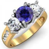 Share 2.00 Carat (ctw) 18K Yellow Gold Round Blue Sapphire & White Diamond Ladies 3 Stone Engagement Bridal Ring 2 CT - Dazzling Rock #https://www.pinterest.com/dazzlingrock/