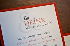 Eat drink and be married - red wedding invitations with swarovski rhinestone www.paperscissorsprint.com