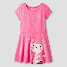 Toddler Girls' Kitty A Line T-Shirt Dress Pink - Cat & Jack™ : Target