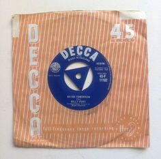 1959 vintage BILLY FURY record rare UK Decca vtg record / music collectible vtg / orange blue / uk vintage 50s 60s