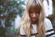 long, blonde, bangs