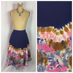 TOPSHOP Batik Tie Dip Dye Cotton A-line Hippie Midi Festival Skirt. US 10 UK 14  | eBay
