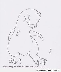 T-Rex trying to use a q-tip to clean his ears. HAHAHAH, I don't know why I love T-Rex jokes as much as I do T Rex Humor, T Rex Arms, Dinosaur Funny, Dinosaur Crafts, Laugh At Yourself, Just For Fun, Funny Photos, Make Me Smile, Cartoon