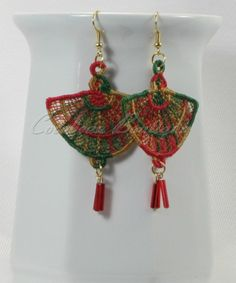 Fsl Free Standing Lace Embroidery Earrings Flower 2