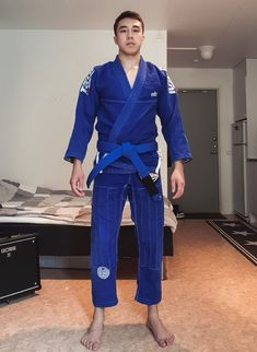 Trim TAILORED FIT JIU-JITSU KIMONO White BJJ// Judo GI with Navy Blue LAPEL