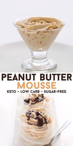 This 5 Minute Peanut Butter Mousse is so easy to make, you won't even believe it. Rich and flavorful, it's the perfect easy keto dessert recipes. Whip it up in 5 minutes and serve! Drizzle over a little sugar-free chocolate sauce for Dessert Simple, Keto Dessert Easy, Desserts Keto, Sugar Free Desserts, Easy Desserts, 5 Minute Desserts, Peanut Butter Dessert Recipes, Sugar Free Treats, Holiday Desserts