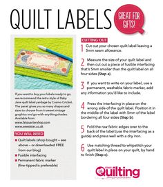 Download your FREE quilt labels printable here as the finishing touch for your quilts! We've created these quilt labels as the final touch for your quilts and other patchwork gifts. If you were lucky enough to get your pre-printed labels pack with Issue...    xxx