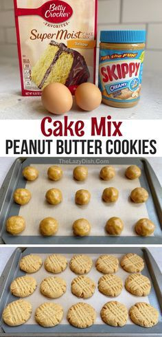 Looking for quick and easy dessert recipes for kids? These simple homemade peanut butter cookies are made with just 4 cheap ingredients: yellow cake mix, eggs, peanut butter and oil. The BEST cookies! They're so soft and chewy! These sweet treats or perfect for a crowd or just a quick dessert at home. You could also add chocolate chips or kisses! If you're looking for creative dessert ideas with few ingredients that are super easy to make, give these cake mix cookies a try. #cake mix… Homemade Peanut Butter Cookies, Butter Cookies Recipe, Yummy Cookies, Betty Crocker Peanut Butter Cookie Recipe, Cookies With Cake Mix, Homemade Cake Mixes, Chocolate Cake Mix Cookies, Quick Cookies, Butter Pie