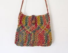 SOLD / #Vintage #Boho / #Hippie Multicolored Woven / Macrame Bag / Wood Button / Festival Purse by VelouriaVintage on Etsy