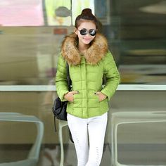 Clearance Winter Coat Korean Short Slim Women Jacket Down Cotton Faux Fur Collar Overcoat Hooded Thick Outerwear