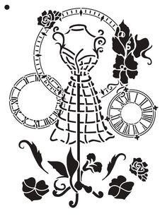 """A Stitch in Time - Art Stencil - 8.5"""" x 11"""" - Victorian"""