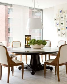 A Fresh Start Carter chose a 19th-century Anglo-Indian mahogany and marble dining table, French art deco chairs - Elle Decor