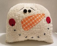 Your place to buy and sell all things handmade Snowman head pillow snowman head chenille pillow chenille Chenille Blanket, Chenille Bedspread, Chenille Fabric, Chenille Crafts, Fabric Crafts, Sewing Crafts, Snowman Quilt, Snowman Crafts, Christmas Bazaar Ideas