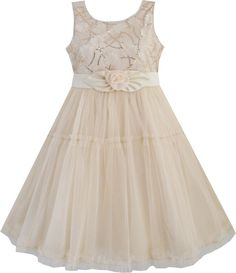 Girls Dress Shinning Sequins Beige Tulle Layers Wedding Pageant Kids SZ 2-10 NWT