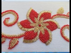 hand embroidery hand embroidery design :flower with long beads. Bead Embroidery Tutorial, Basic Embroidery Stitches, Hand Embroidery Videos, Hand Embroidery Flowers, Couture Embroidery, Embroidery Flowers Pattern, Simple Embroidery, Bead Embroidery Jewelry, Machine Embroidery Patterns
