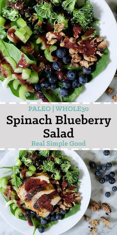 Spinach blueberry salad topped with chicken long pin. This Paleo + spinach blueberry salad has seasonal produce and the blueberry dressing has no added sugar. It's a quick and easy weeknight meal. Blueberry Chicken, Blueberry Salad, Blueberry Recipes, Paleo Salad Recipes, Cooking Recipes, Healthy Recipes, Paleo Meals, Vegetarian Paleo, Entree Recipes