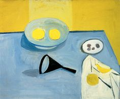 William Scott, [Lemons and a Funnel], 1949, Oil on canvas, 50.6 × 60.2 cm / 20 × 23¼ in, Private collection