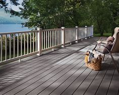 Trex Select 1 in. x 12 ft. Pebble Grey Grooved Edge Capped Composite Decking Board at The Home Depot - Mobile Outdoor Flooring Options, Deck Flooring, Composite Flooring, Home Depot, Railing Design, Deck Design, Railing Ideas, Fence Ideas, Winchester