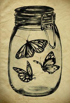 Butterflies in a mason Jar by *heyydaydreamer on deviantART