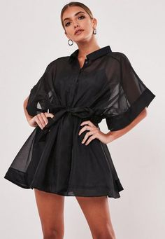 black sheer organza shirt dress with cami slip underneath, wide kimono style sleeves and tie waist. regular fit Micro Mini - Just covers the bum Polyester Barbara wears a UK size 8 / EU size 36 / US size 4 and her height is Kimono Fashion, Fashion Dresses, Skater Shirts, Cute Dresses, Cute Outfits, Dresses Dresses, Kleidung Design, Organza Dress, Mini Dress With Sleeves