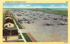 Mather Field Sacramento California 1943 Flight Line Airplanes Vintage Postcard