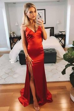 Buy Sexy Mermaid V-Neck Red Cowl Back Prom Evening Dress with Slit OP704 – Ombreprom.co.uk Backless Mermaid Prom Dresses, Best Prom Dresses, Backless Prom Dresses, Event Dresses, Prom Party Dresses, Long Dresses, Dress Party, Satin Dresses, Formal Dresses