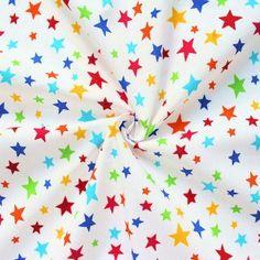 100% Baumwolle Popeline  Sterne Mix  Farbe Weiss