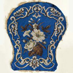Antique Victorian Era Beadwork Needlepoint Slipper Chair Back Panel, for Pillow Top
