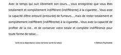 Script hypnotique - Sortir de sa dépendance; cesser de fumer (arrêt du tabac)