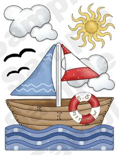 Nautical Nursery Baby Wall Stickers. Graphics by Digi Scrap Kits - Trina Clark.